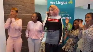 The X Factor - Girls get a surprise at Dublin Airport!