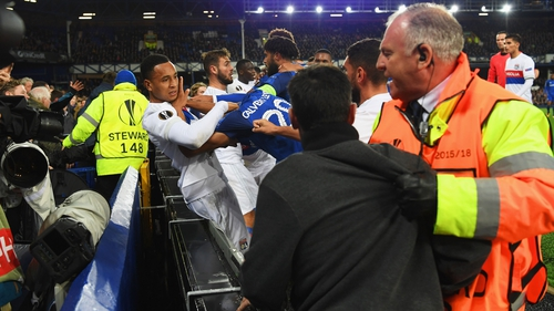 A melee broke out between Everton and Lyon players