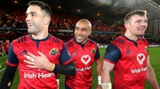 Munster's Conor Murray, Simon Zebo and Peter O'Mahony celebrate after the game