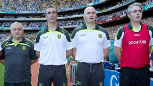 Pat Shovelin (far left) with Jim McGuinness, Paul McGonigle and Dr Charlie McManus