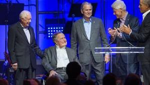 (L-R) Jimmy Carter, George HW Bush, George W Bush, Bill Clinton and Barack Obama