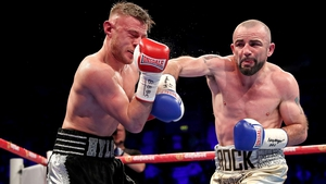 Stephen Ormond connects with a straight right during the controversial fight on Saturday night