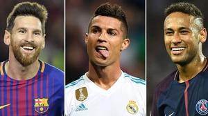 Leo Messi, Cristiano Ronaldo and Neymar