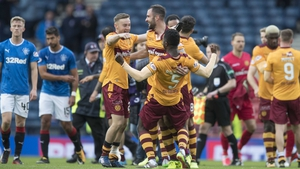 Motherwell players celebrate their win