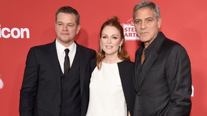 Matt Damon, Julianne Moore and George Clooney at the Suburbicon premiere in LA
