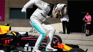 Lewis Hamilton celebrates at the end of the US Grand Prix which sees him on the brink of a third world title