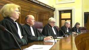 Supreme Court judges photographed at the first ever broadcast of court proceedings in October 2017