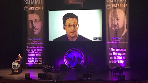 Edward Snowden was speaking at a cyber security conference in Dublin