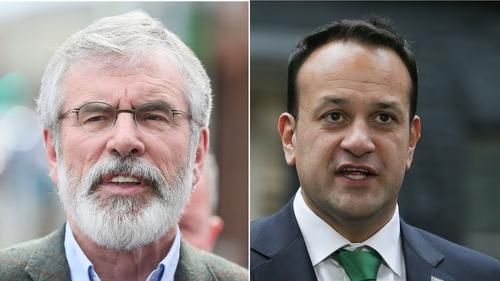 Sinn Féin leader Gerry Adams and Taoiseach Leo Varadkar