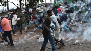 Protests in the Kibera slum in the Kenyan capital, Nairobi