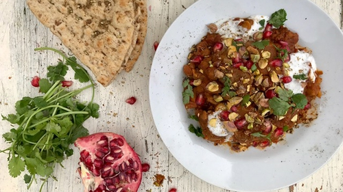 Top this dish with chopped pistachios, coriander and pomegranate jewels