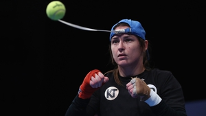 Katie Taylor at yesterday's workout in Cardiff