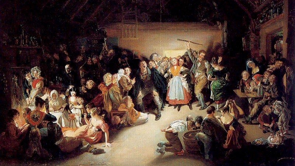 Snap-Apple Night, by Irish artist Daniel Maclise (1833), inspired by a Halloween party he attended in Blarney, Co Cork