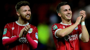Joe Bryan and Matty Taylor of Bristol City celebrate their victory against Crystal Palace
