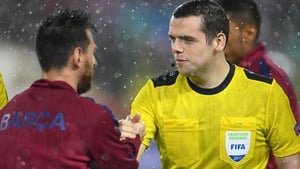 Douglas Ross MP shakes hands with Barcelona's Lionel Messi before the game at the Camp Nou