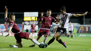 Dundalk's Jamie McGrath with Colm Horgan and Rory Hale of Galway in Friday night's 4-3 win for Dundalk in Eamonn Deacy Park