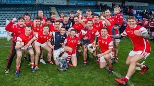 Cuala players celebrate the win over Kilmacud Crokes