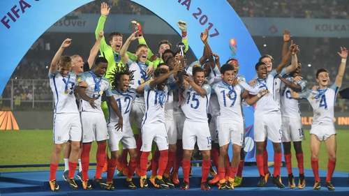The England U17s lifting the World Cup in Kolkota, India on Saturday afternoon