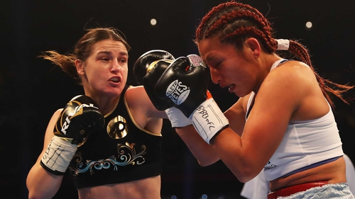 Katie Taylor and Anahi Sanchez in action in Cardiff