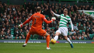 Leigh Griffiths scoring Celtic's goal in their 1-1 draw with Kilmarnock on Saturday