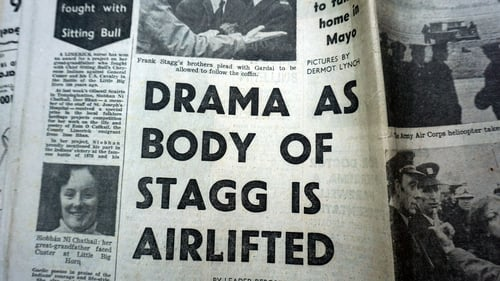 Newspaper cutting following the transfer of the coffin by helicopter