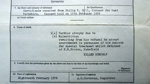 Frank Stagg's death certificate - cause of death