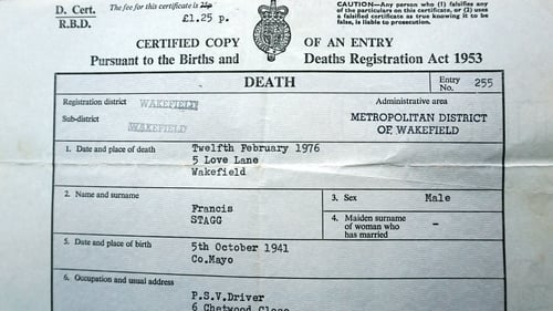 Frank Stagg's death certificate
