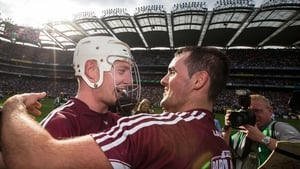 Galway's Joe Canning (L) celebrates with Johnny Coen