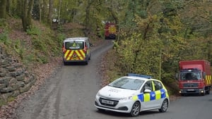 Emergency services at the scene in rural Wales
