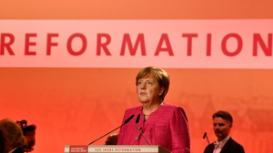Angela Merkel speaking at a ceremony in Wittenberg, scene of the first move of the Reformation