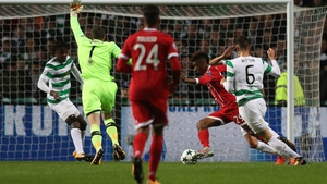 Craig Gordon appeals in vain for handball before Kingsley Coman scores for Bayern