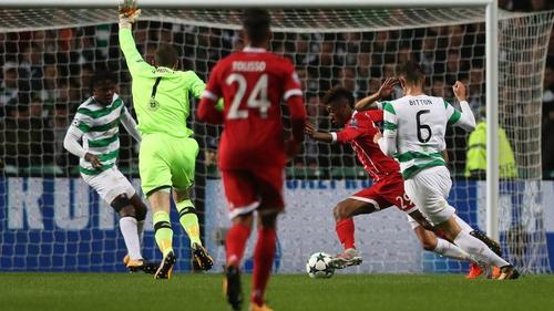 Craig Gordon appeals in vain for handball before Kingsley Coman scores for Bayern