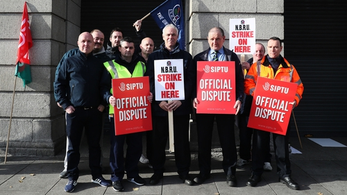 Union members on the picket line at Dublin's Heuston station