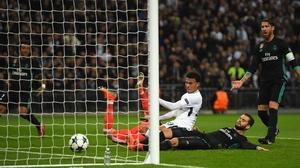 Dele Alli of Tottenham Hotspur scores