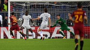 Stephan El Shaarawy of AS Roma scores against Chelsea