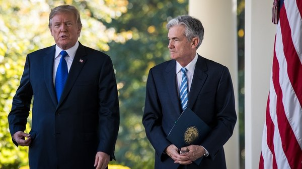 The incoming chair of the US Federal Reserve Jerome Powell with US president Donald Trump
