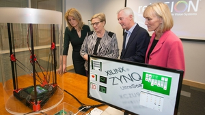 Mary Buckley, Executive Director of IDA Ireland, Business, Enterprise and Innovation Minister Frances Fitzgerald; Kevin Cooney, Senior Vice President of Xilinx with Libby Gribben, VP Global HR at Xilinx at today's announcement