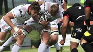 Ulster's Kieran Treadwell and Matty Rea look to make yards