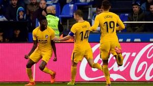 Atletico Madrid's Ghanaian midfielder Thomas Partey (L) celebrates