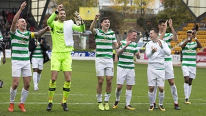 Celtic players celebrate breaking the record