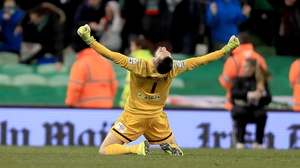 Cork goalkeeper Mark McNulty celebrates during last year's final