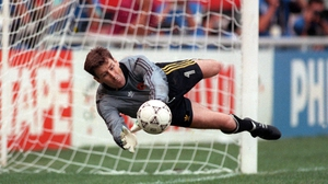 Packie Bonner saves Daniel Timofte's penalty in Ireland's Italia 90 last-16 clash against Romania