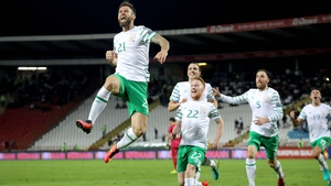 Daryl Murphy celebrating his first international goal in Belgrade