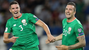 Ciaran Clark (L) and Shane Duffy are likely to line up in the heart of the Irish defence on Saturday night