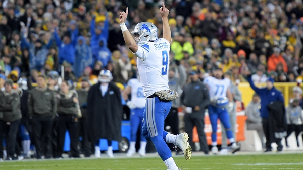 Stafford passed for 361 yards and two touchdowns to Marvin Jones in the victory over Green Bay
