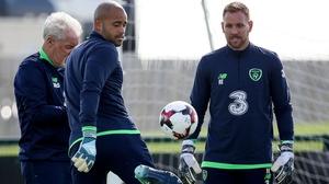 Darren Randolph and Rob Elliot in Ireland training on Tuesday
