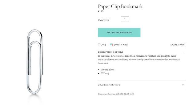Paper clip tiffanys