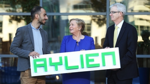 Parsa Ghaffari, founder & CEO of AYLIEN, Business, Enterprise and Innovation Minister Frances Fitzgerald and Joe Healy, from Enterprise Ireland