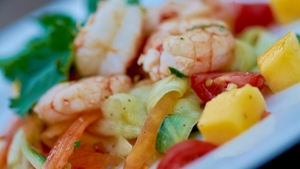 Fulvio's Grilled Prawns with Mango & Papaya