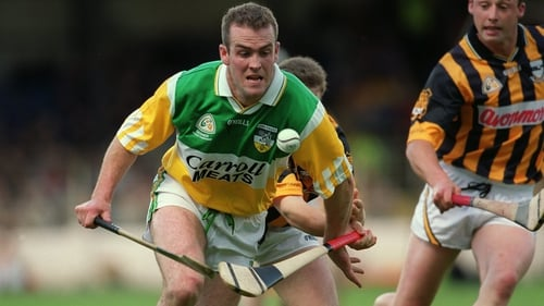 Offaly's Kevin Martin battles for possession against Kilkenny in 2000